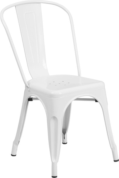 """Indoor/Outdoor Cafe Metal 5 Piece set- 31.5"""" Square Table set with 4 Stack Chairs-White Chair"""