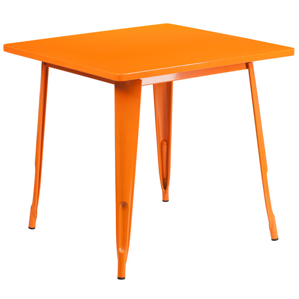 """Indoor/Outdoor Cafe Metal 5 Piece set- 31.5"""" Square Table set with 4 Stack Chairs-Orange Table"""