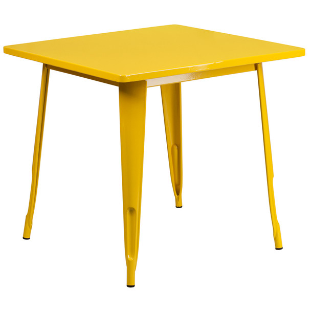 """Indoor/Outdoor Cafe Metal 5 Piece set- 31.5"""" Square Table set with 4 Stack Chairs-Yellow Table"""
