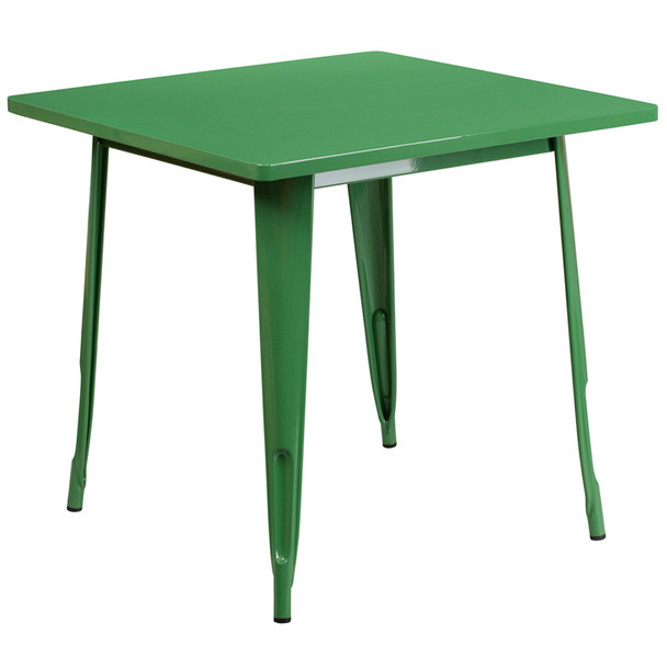 """Indoor/Outdoor Cafe Metal 5 Piece set- 31.5"""" Square Table set with 4 Stack Chairs-Green Table"""