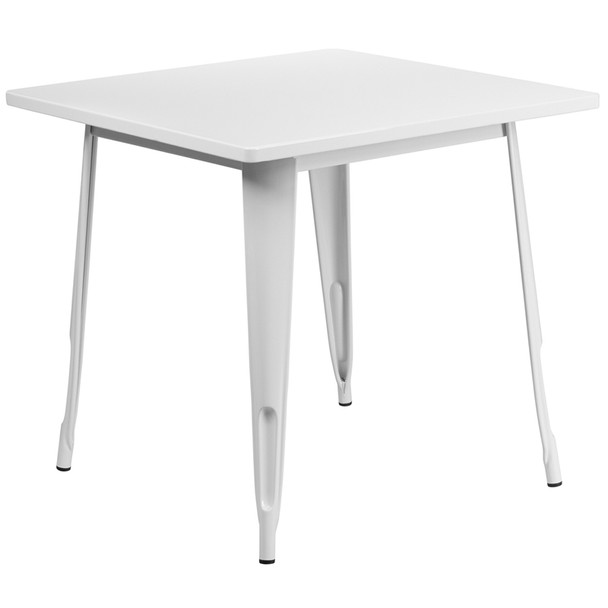 """Indoor/Outdoor Cafe Metal 5 Piece set- 31.5"""" Square Table set with 4 Stack Chairs-White Table"""