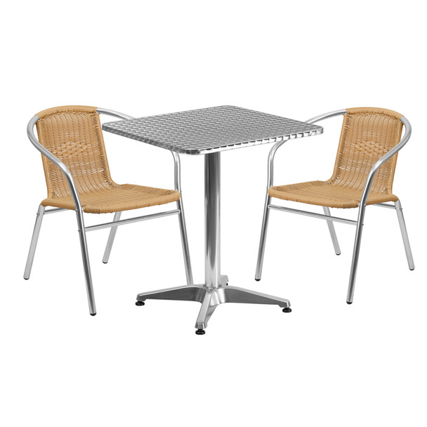 ... Aluminum Indoor/Outdoor Table Set With Rattan Chairs ...