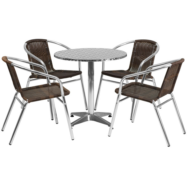 Aluminum Indoor/Outdoor Table Set with Rattan Chairs
