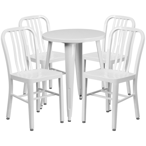 "Metal Indoor/Outdoor Cafe Table Set with Vertical Slat Chairs-24"" Round with 4 Chairs-White"