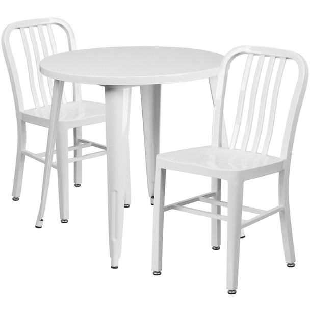 "Metal Indoor/Outdoor Cafe Table Set with Vertical Slat Chairs-30"" Round with 2 Chairs-WHITE"