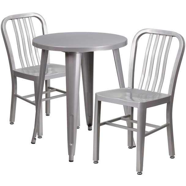 "Metal Indoor/Outdoor Cafe Table Set with Vertical Slat Chairs-24"" Round with 2 Chairs-Silver"