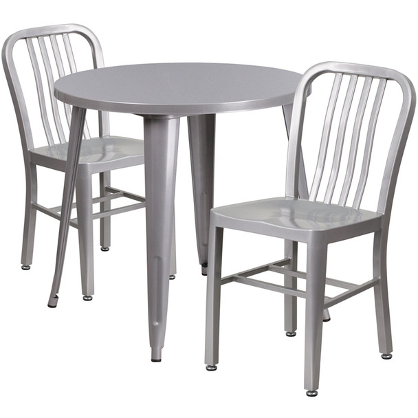 "Metal Indoor/Outdoor Cafe Table Set with Vertical Slat Chairs-30"" Round with 2 Chairs-Silver"