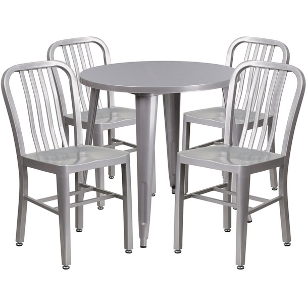 Metal IndoorOutdoor Cafe Table Set With Vertical Slat Chairs - Round metal cafe table