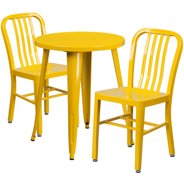 "Metal Indoor/Outdoor Cafe Table Set with Vertical Slat Chairs-24"" Round with 2 Chairs-Yellow"