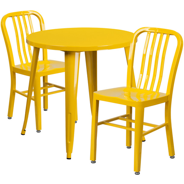 "Metal Indoor/Outdoor Cafe Table Set with Vertical Slat Chairs-30"" Round with 2 Chairs-Yellow"