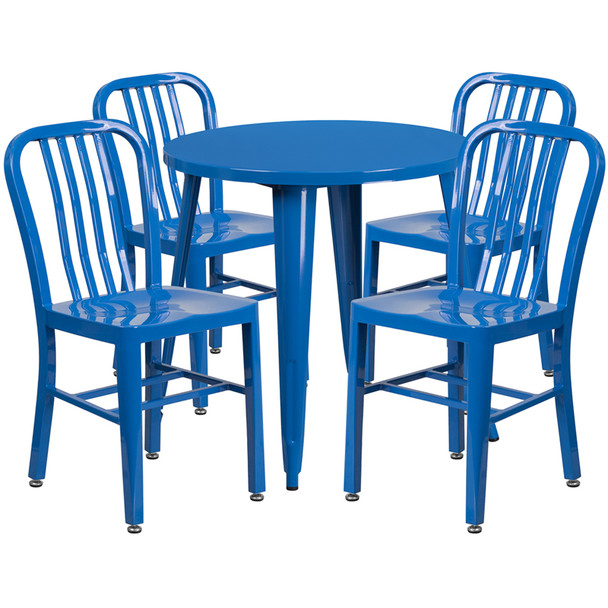 "Metal Indoor/Outdoor Cafe Table Set with Vertical Slat Chairs-30"" Round with 4 Chairs-Blue"