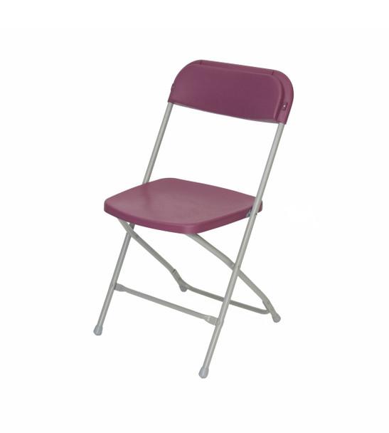 Plastic Folding Chair Premium Rental Style-Burgundy