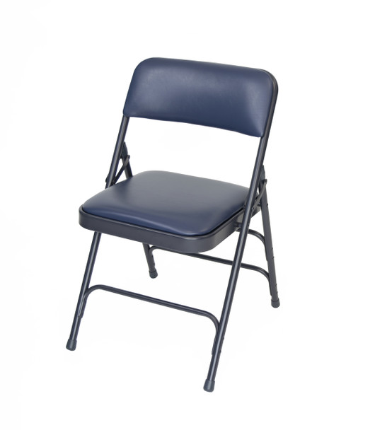 Classic Series Vinyl Padded Folding Chair - Quad Hinged - Triple Cross Braced - 300lb Capacity-Navy