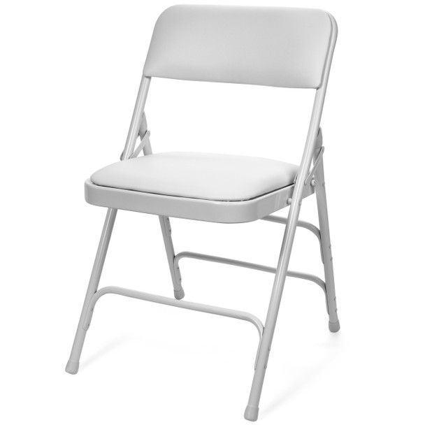 Classic Series Vinyl Padded Folding Chair - Quad Hinged - Triple Cross Braced - 300lb Capacity-White