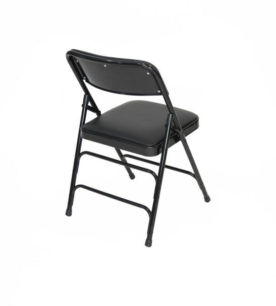 Classic Series Vinyl Padded Folding Chair - Quad Hinged - Triple Cross Braced - 300lb Capacity-Black