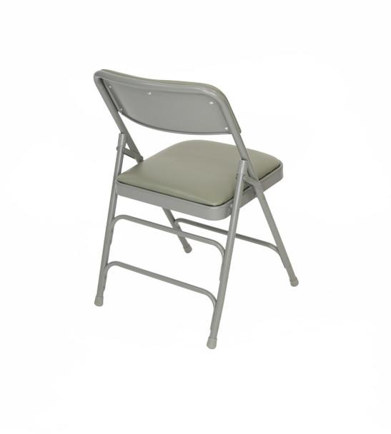 Classic Series Vinyl Padded Folding Chair - Quad Hinged - Triple Cross Braced - 300lb Capacity-Gray