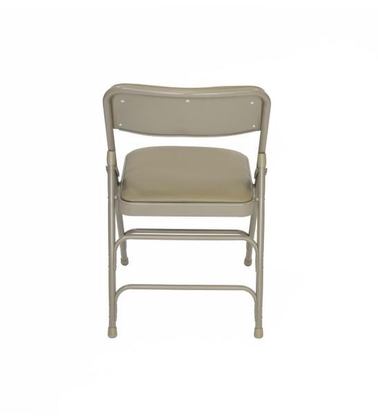 Classic Series Vinyl Padded Folding Chair - Quad Hinged - Triple Cross Braced - 300lb Capacity-Beige