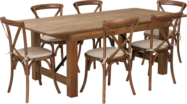 7 Ft Antique Rustic Farm Table Set with 4, 6, or 8 Cross Back Chairs and Cushions -6 Cross Back Chairs