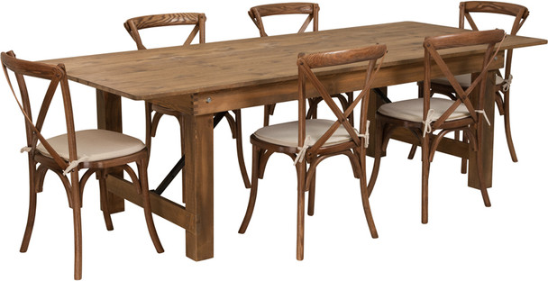 8 Ft Antique Rustic Farm Table Set with 6, 8, or 10 Cross Back Chairs and Cushions-6 Cross Back Chairs