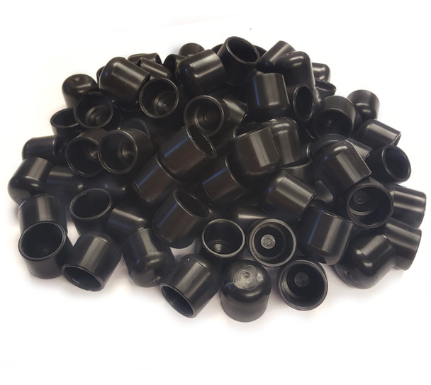 """100 pk. USA Made Black Non-Marring Plastic Foot Cap Glides for Metal and Padded Folding Chairs, Fits 7/8"""" OD Tube"""