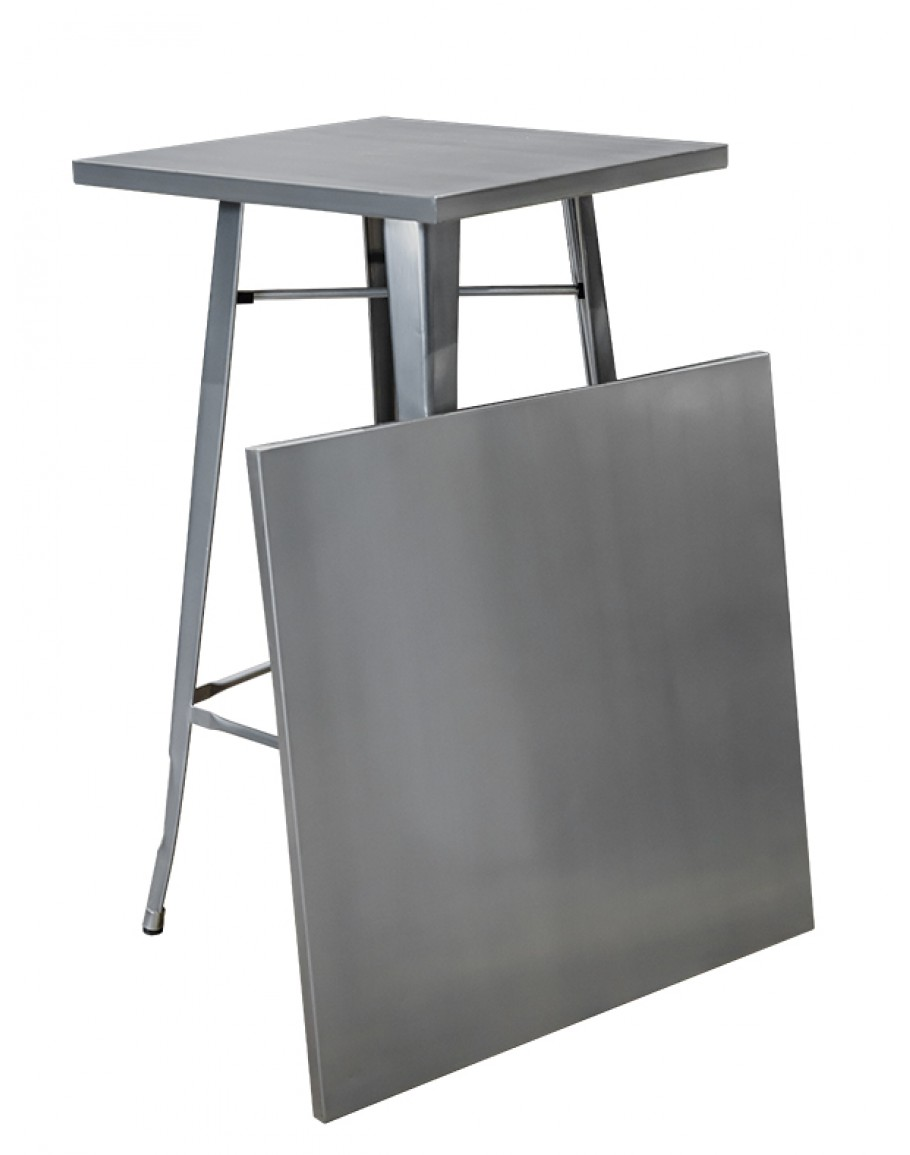 2 Table Premier Engrom Series Square Metal High Top Cocktail Table Set ...