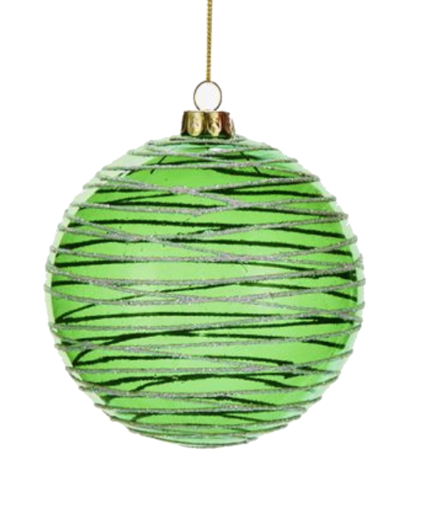 Glass  Green Swirl Design Ball Ornament