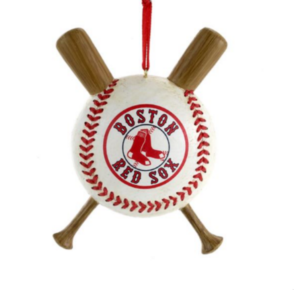 red sox ball with crossed baseball bats ornament the christmas loft rh christmasloft com Baseball Bat Clip Art Baseball Shield