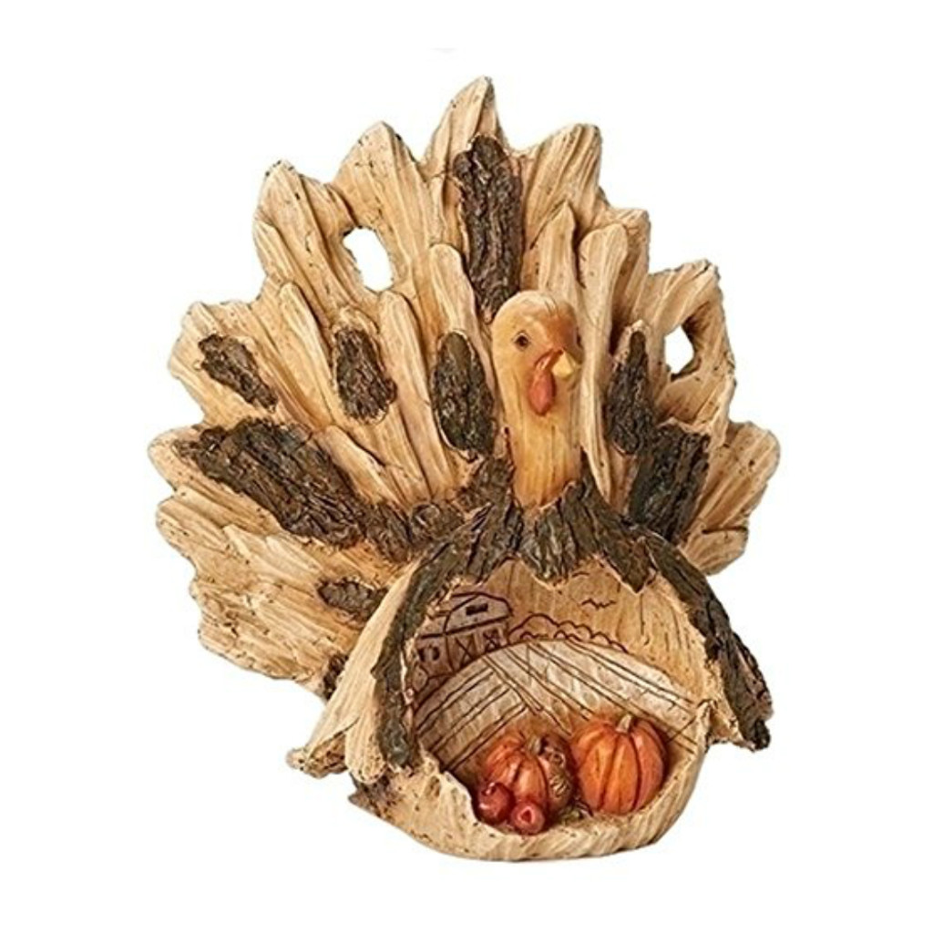 "9"" Wood Carved Turkey with Scene"