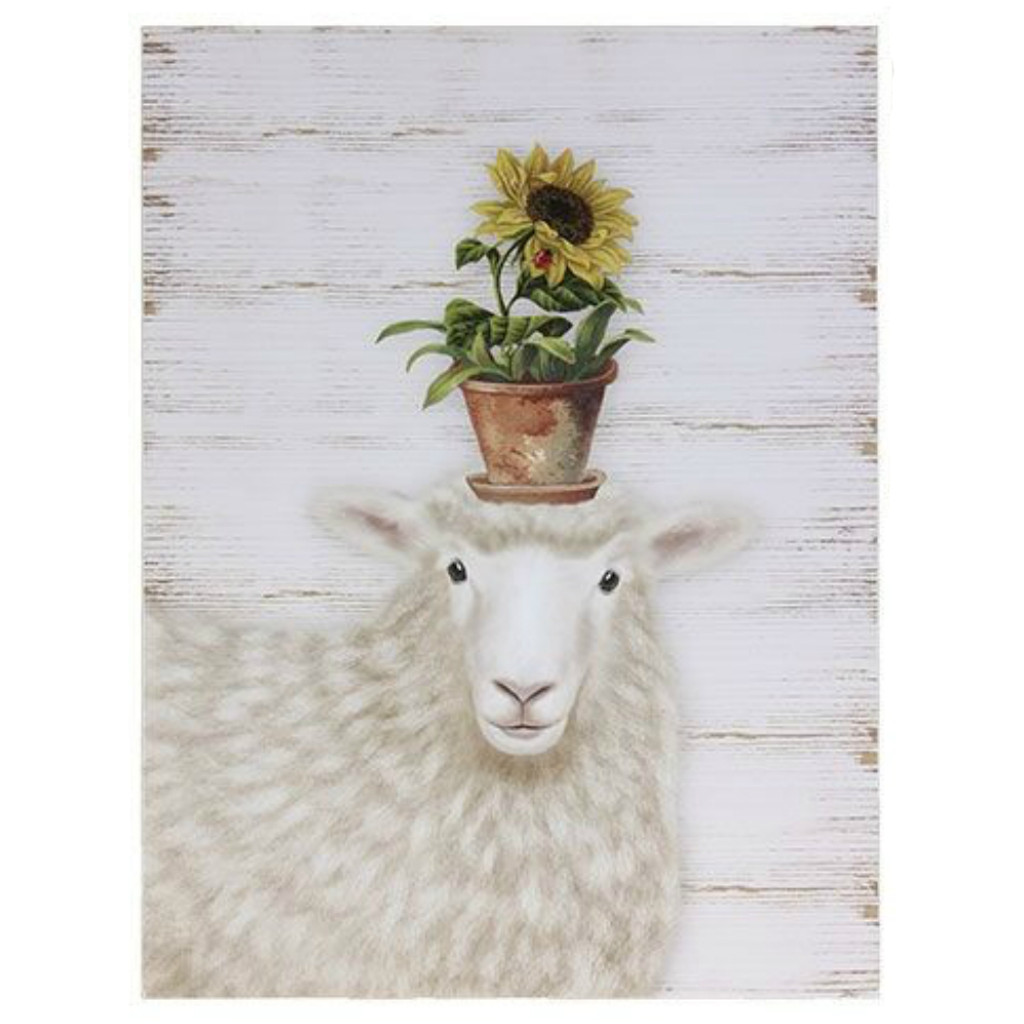 "16"" Spring Time Sheep Wall Art"