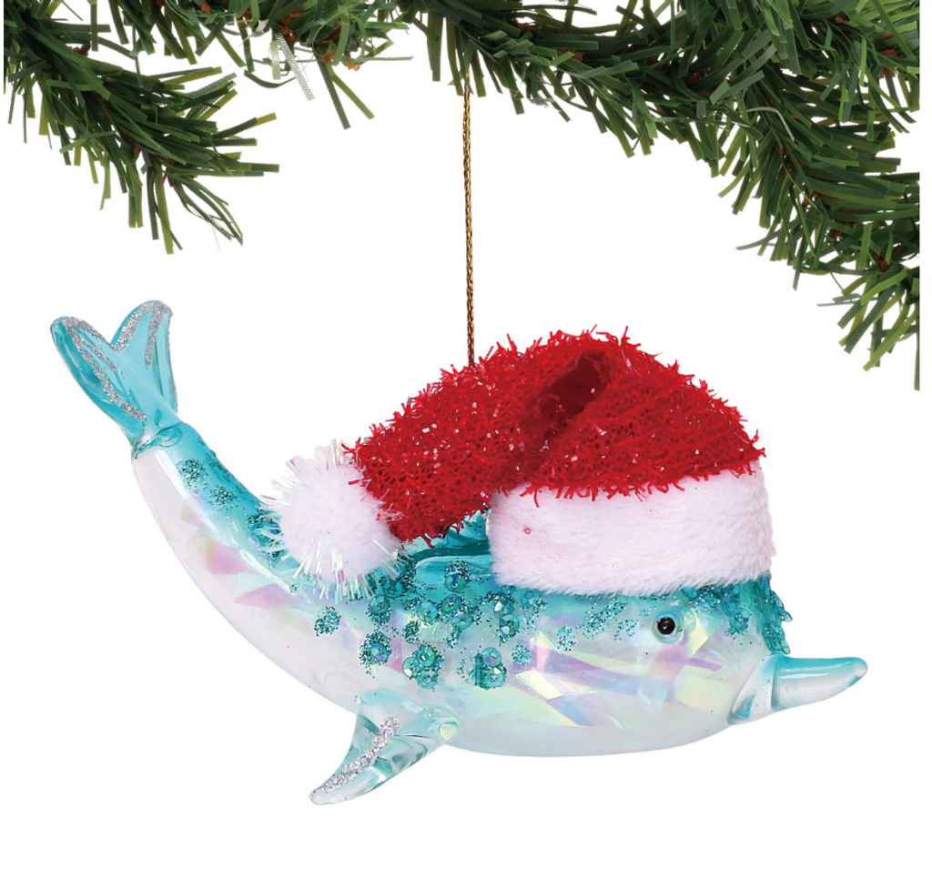 Glass Dolphin with Santa Hat Ornament 2018
