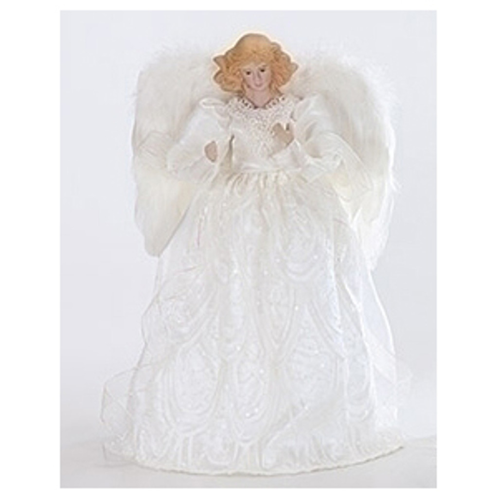 14 Inch White & Silver Angel Tree Topper with golden hair.