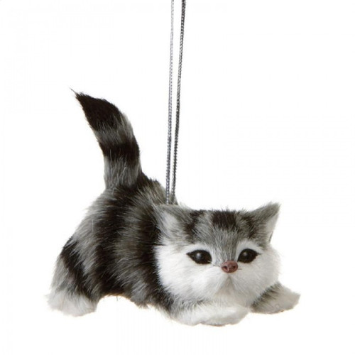 Gray and White Cat Ornament