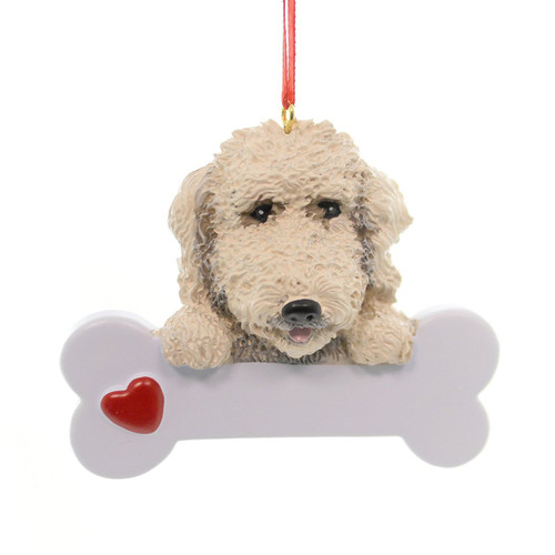 Personalizable -  Labradoodle Dog Bone Ornament