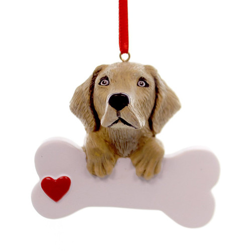 Personalizable -  Yellow Lab Dog Bone Ornament