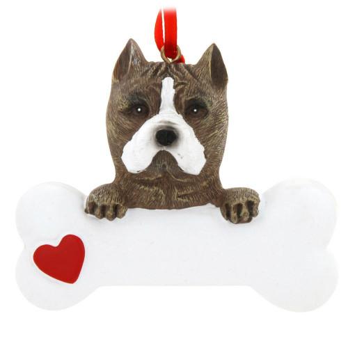 Personalizable -  Pitbull Dog Bone Ornament