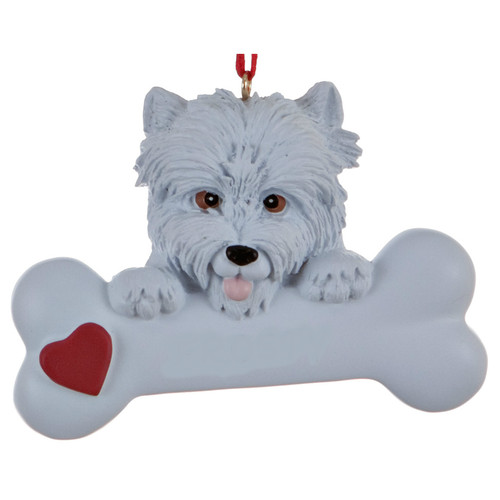 Personalizable -  Westie Dog Bone Ornament