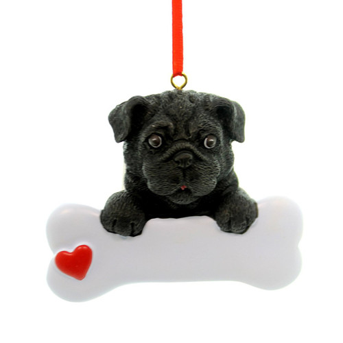 Personalizable -  Black Pug Dog Bone Ornament