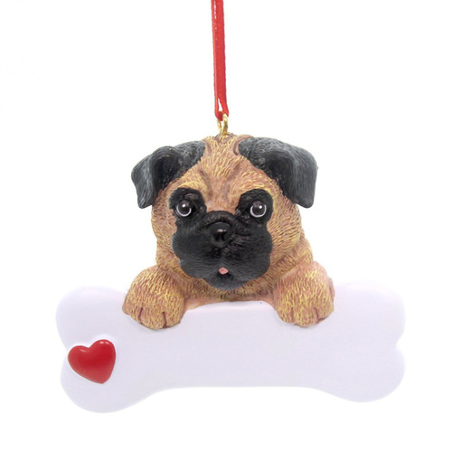 Personalizable -  Pug Dog Bone Ornament