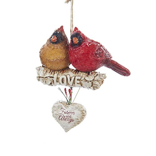 Cardinals on Branch 'Love Forever and Always'  Ornament