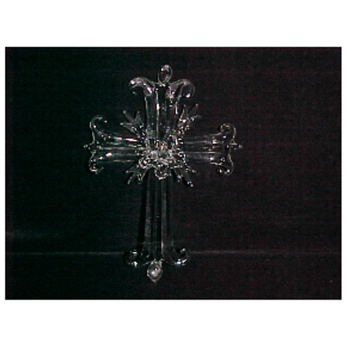 Spun Glass Fancy Cross Ornament