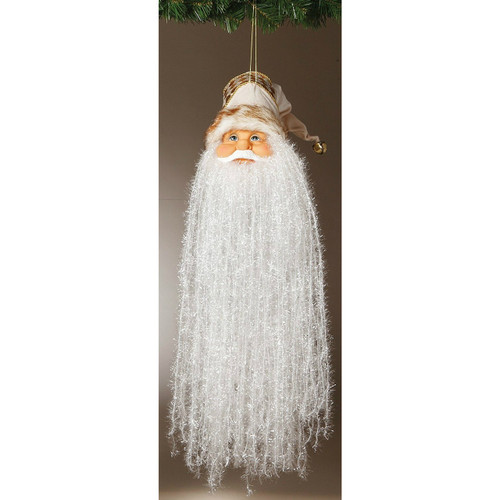 "18"" Bearded Santa Head with Cream and Gold Hat Ornament"