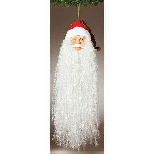 "18"" Bearded Santa Head with Traditional Red Hat Ornament"