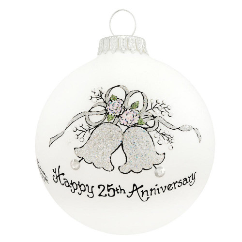 25th Anniversary Ornament- Heart Gifts by Teresa- USA Made