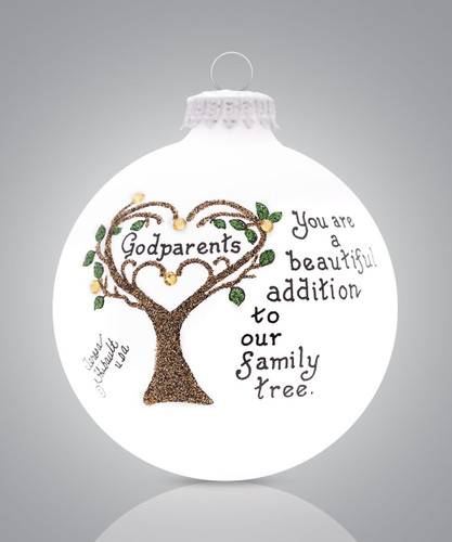 Godparents Tree Ornament- Heart Gifts by Teresa- USA Made