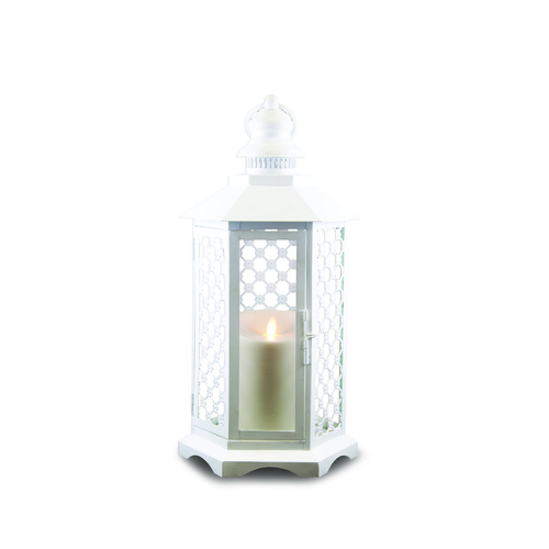 White Lattice Lantern by Luminara- 16 inches