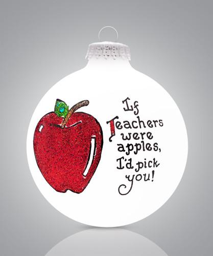 Teacher Apple Ornament- Heart Gifts by Teresa- USA Made