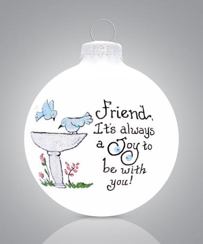 Friend Bird Bath Ornament- Heart Gifts by Teresa- USA Made