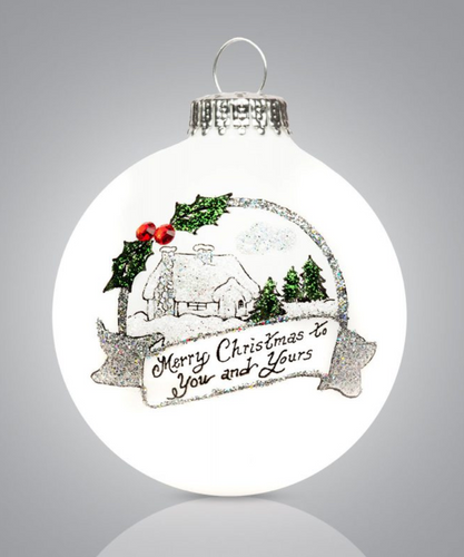 Christmas Cottage (Blank) Ornament- Heart Gifts by Teresa- USA Made