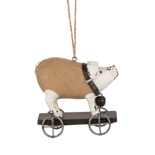 Pig On Wheels Ornament