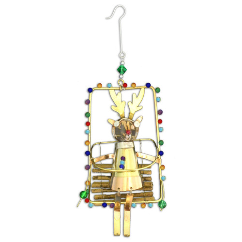 Pilgrim Imports - Handcrafted, Fair Trade,  Brass Ski Lift Reindeer Ornament